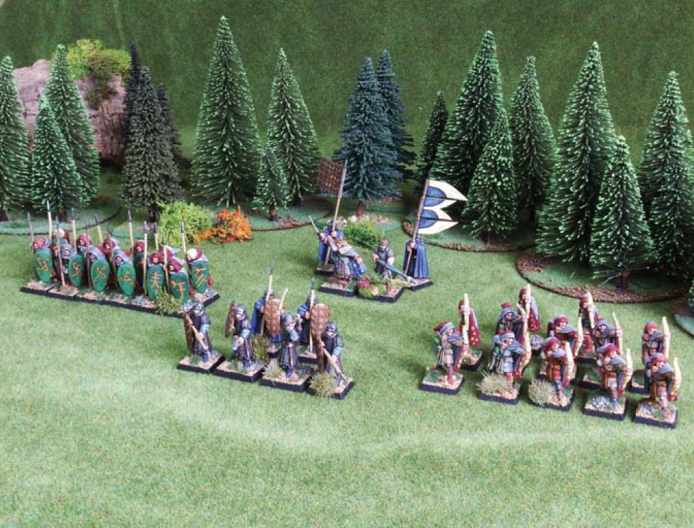 A 24 army point Sea Elf Warband: Prince and Bannermen (Elite Foot, eader, Reduced Model Unit) @ 6pts, Guardsmen (Elite Foot) @ 6pts, rchers (Light Missiles, Sharpshooter, Invisibility) @ 9pts, Spearmen (Light Foot) @ 3pts.